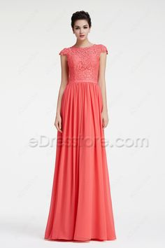 The modest bridesmaid dress is made of lace and chiffon fabric, lace bodice with cap sleeves and zipper on the back, a belt around waist continued with A line skirt finishing with floor length.