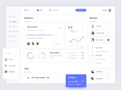 A concept office assistant software, can finish statistical work, by the employee task shows the proportion of total project, and complete, and we also do to the employee's working hours Statistics. Dashboard Interface, Web Dashboard, Ui Web, Dashboard Design, Interface Design, Student Dashboard, Web Design Trends, App Design, Flat Design