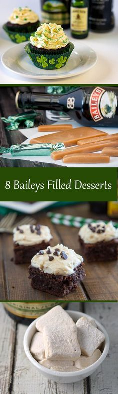 8 delicious dessert recipes featuring Baileys Irish Cream. This is a great collection for Saint Patrick's Day. Choose from Baileys brownies, cupcakes, candy, and more.