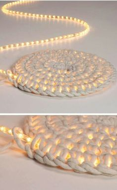 Home Discover Knitting Patterns Yarn Crochet LED fairy lights as carpet schoenstricken. Crochet Projects Craft Projects Crochet Diy Crochet Rope Learn Crochet Crochet Ideas Led Fairy Lights Creation Deco Arts And Crafts Crochet Projects, Craft Projects, Diy And Crafts, Arts And Crafts, Rope Crafts, Crochet Diy, Crochet Rope, Learn Crochet, Crochet Ideas