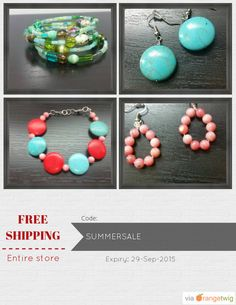 Get Free Shipping our Entire Store now! Enter Coupon Code: SUMMERSALE Restrictions: Expiry: 29-Sep-2015. Click here to avail coupon: https://orangetwig.com/shops/AABD9me/campaigns/AABMWNj?cb=2015009&sn=Anything4UCreations&ch=pin&crid=AABMWOw