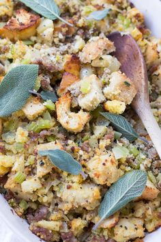 Stuffing with Sausage, Apples and Sage will satisfy everyone's tastebuds at the Thanksgiving table with a mix of cornbread and French bread.