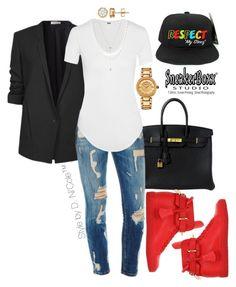 """Untitled #3231"" by stylebydnicole ❤ liked on Polyvore featuring moda, Hermès, Helmut Lang, Versace, BUSCEMI e Jennifer Zeuner"