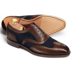 Brown and navy Spencer calf co-respondent shoes | Charles Tyrwhitt