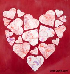 Marbled Heart Collage - a beautiful art project for Valentine's Day!