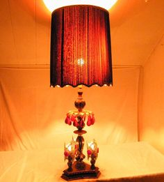 57 best vintage lamps smileatthedeals images on pinterest mid century hollywood regency french black red crystal pierced shade brass lamp aloadofball Images