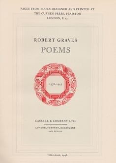 """Title page to """"Robert Graves - Poems"""" as printed by the Curwen Press, Plaistow, London, 1946"""
