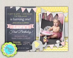 Elephant Yellow Grey and Pink 1st Birthday by InvitationsByLittleP