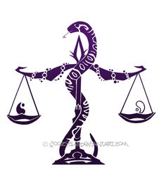 Libra Tattoo Design 26. Loose the snake and beads and replace with ivy