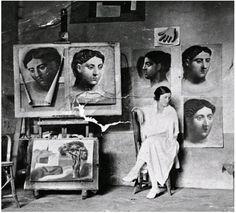 Olga in Picasso's Studio (Atelier)  Olga Khokhlova: http://en.wikipedia.org/wiki/Olga_Khokhlova  Pablo Picasso: http://en.wikipedia.org/wiki/Pablo_Picasso