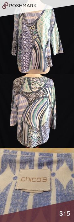 Chico's Printed Top Sz. 3 Bust 46 Length 24.5 This top is missing the size tag but is in excellent condition. no rips stains or holes. Print is designed to look faded. Chico's Tops Blouses