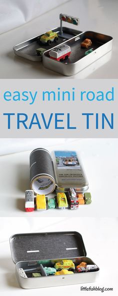How to Make a Mini Road Travel Tin - Little Fish Travel Activities, Craft Activities For Kids, Diy Crafts For Kids, Preschool Learning, Stem Activities, Summer Crafts, Puppets For Kids, Small World Play, Travel Toys