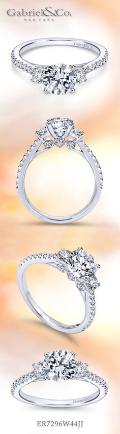Gabriel & Co.-Voted #1 Most Preferred Fine Jewelry and Bridal Brand.  Meet Chantal -  14k White Gold Round 3 Stones Engagement Ring