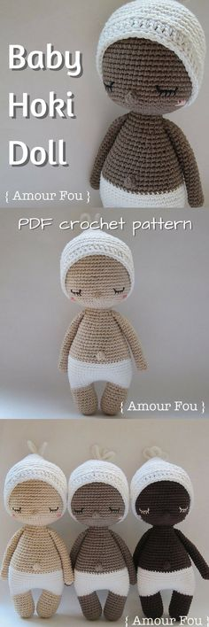 """I love this simple baby """"Hoki"""" Amigurumi Doll. Easy, detailed crochet pattern for beginners to make this adorable stuffed toy. #etsy #ad #pdf #crochet #pattern #instant #download #baby #stuffy"""