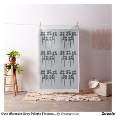 Cute Abstract Grey Palette Flowers Pattern Fabric