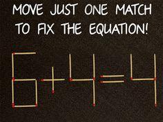 Τεστ: Μπορείς να φτιάξεις την ισότητα μετακινώντας μόνο ένα σπίρτο…