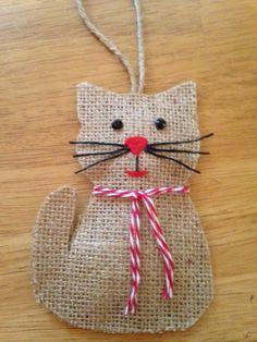 Burlap Cat Ornament
