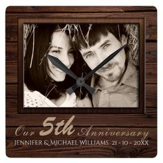 Create Own Wedding Anniversary PHOTO Gift Name Square Wall Clock - wood gifts ideas diy cyo natural 5th Anniversary Gift Ideas, 50 Wedding Anniversary Gifts, Romantic Anniversary, Anniversary Clock, Marriage Anniversary, Marriage Gifts, Wedding In The Woods, Rustic Wedding, Photo Gifts