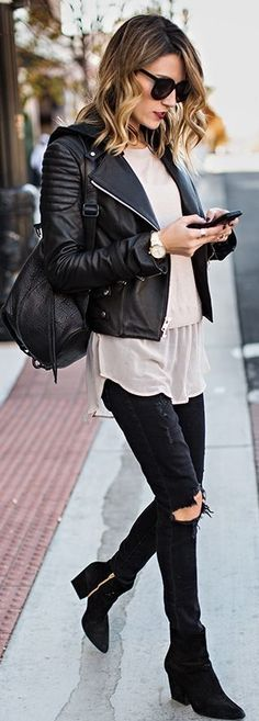 °|° Fashion, Style and Beauty: Hooded Leather Moto Jacket with Nude Silk Hem Swea...