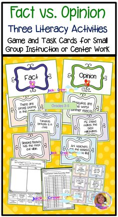 This product has 48 fact and opinion cards to be used with partners, a sorting mat, 12 task cards , two sorts, suggestions for use and two check-up 10 item quizzes.  New: 18 DIGITAL PAGES #factandopinion, #thirdgrade, #fourthgrade, #fifthgrade, #taskcards, #literacycenters, #Englishlearners,