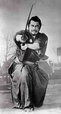 Toshiro Mifune plays The Samurai in Yojimbo. Ronin Samurai, Samurai Warrior, Samurai Swords, Samurai Poses, Toshiro Mifune, Kendo, Aikido, Karate, Tattoo Samurai