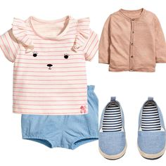 Baby girl outfit idea. H&M 2017 summer collection. Denim shorts, pink t-shirt, denim espadrilles and silk blend cardigan.