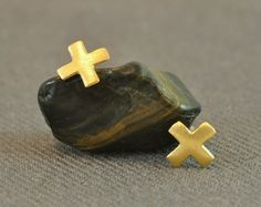 Unisex stud earrings - small golden matte finish plus. post earrings handmade by Tuliya jewelry