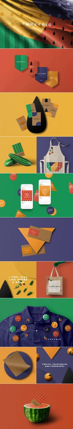 FunkyBio organic supermarket brand identity by Volta Web Design Agency, Brand Identity Design, Graphic Design Branding, Corporate Design, Corporate Identity, Visual Identity, Branding And Packaging, Hotel Branding, Branding Agency
