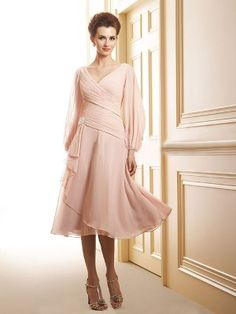A-line/Princess V-neck Long Sleeves Ruffles Knee-length Chiffon Mother of the Bride Dress - Mother of the Bride Dresses