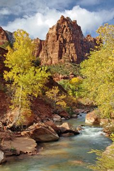 The Virgin River near the Court of the Patriarchs in Zion National Park, Utah Places To Travel, Places To Visit, Canada National Parks, Best Vacations, Places Around The World, Vacation Spots, Beautiful Landscapes, The Great Outdoors, Nature Photography