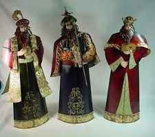 LARGE NATIVITY SET CHARACTERS - 3 KINGS. HAND MADE OF METAL IN THE PHILLIPINES.