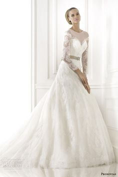 pronovias 2015 pre collection blanche dotted tulle long sleeve wedding dress