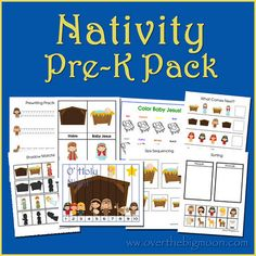 FREE!!  Included  in this Pre-K Pack is:    Prewriting Practice Sheets – Cutting Practice – Which one is different?  Finish the Pattern Sheet – Size Sequencing Sheet – Nativity Strip Puzzle  4-piece puzzles – Sorting Practice – Counting Practice Cards  Color Baby Jesus – Letter and Sound Finding Cards  3-Part Vocabulary Cards – Shadow Matching