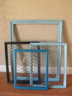 Chicken wire frames  Put canvas picture on top