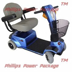 Zipr Mobility  Breeze  Travel Scooter  4Wheel  18W x 16D Seat  Blue  PHILLIPS POWER PACKAGE TM  TO 500 VALUE -- Offer can be found by clicking the image