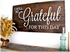 Reclaimed Barn Wood Sign Grateful For This Day by cellardesigns, $194.00