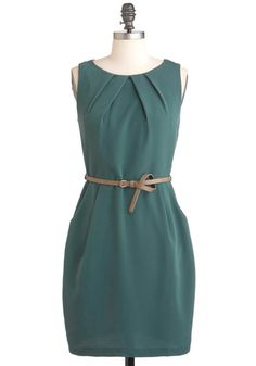 Spruce Be Told Dress - Green, Solid, Pockets, Work, Sheath / Shift, Sleeveless, Belted, Short, Pleats, Top Rated