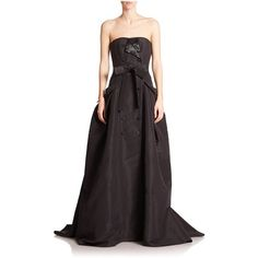 Carolina Herrera Embellished Silk Faille Trench Gown ($4,590) ❤ liked on Polyvore featuring dresses, gowns, black, gown, button dress, silk evening gowns, silk evening dresses, sweetheart neckline dress and sweetheart gowns