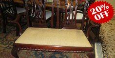 English Mahogany Bench  Description:44799 – Vintage English Mahogany Bench w/Gold Upholstery  $1100.00