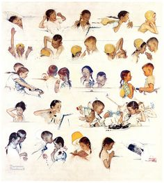 Me encanta esta gráfica en la vida de una niña    1952--A Day in the Life of a Little Girl - by Norman Rockwell