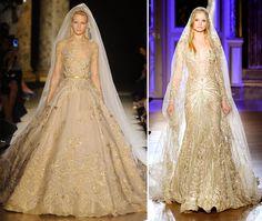 vestidos de noiva de alexander mqueen   Vestido de noiva com dourado é aposta para 2013