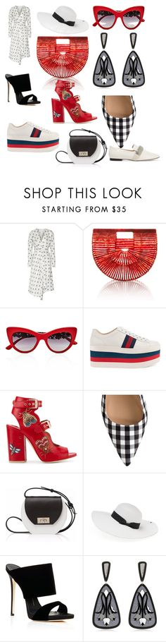 """#red#trend#girls#fashone#"" by hannazakaria ❤ liked on Polyvore featuring Victoria Beckham, Cult Gaia, Dolce&Gabbana, Gucci, Laurence Dacade, Joanna Maxham, Peter Grimm, Anna e Alex and Christopher Kane"