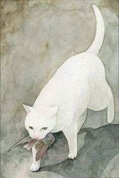 Cats in Art and Illustration: Midori Yamada Art And Illustration, Illustrations, I Love Cats, Crazy Cats, Image Chat, Art Watercolor, White Cats, Black Cats, Cat Drawing