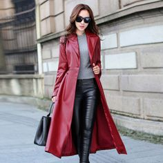 Women Red Black Maxi Faux Leather Jacket With Belt 2016 Autumn Winter New  Plus Size Long PU Leather Trench Coats For Women