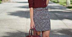 inspiração para o look de trabalho com sapatilha de oncinha | Looks | Pinterest | Burgundy, Skirts and Printed Skirts