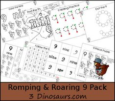 Free Romping & Roaring Number 9 Pack - coloring pages, playdough mats, counting, tracing and more 39 pages great for ages 3 to 6 or 7 - It has a little red hen theme- 3Dinosaurs.com