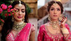 Most Attractive Bridal Choker Necklace Designs that will Sparkle your Eyes Pink Bridal Lehenga, Pink Lehenga, Sabhyasachi Sarees, Indian Bridal Jewelry Sets, Bridal Jewellery, Lehenga Jewellery, Bridal Sets, Necklace Designs, Sabyasachi Suits
