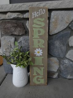 Items similar to Hello Spring sign. Hand painted wood sign/Vertical Spring sign/ Easter decor/ Front door sign/ Outside spring sign/ Easter sign on Etsy Diy Wood Signs, Painted Wood Signs, Hand Painted, Spring Projects, Spring Crafts, Diy Projects, Spring Sign, Spring Home, Front Door Signs