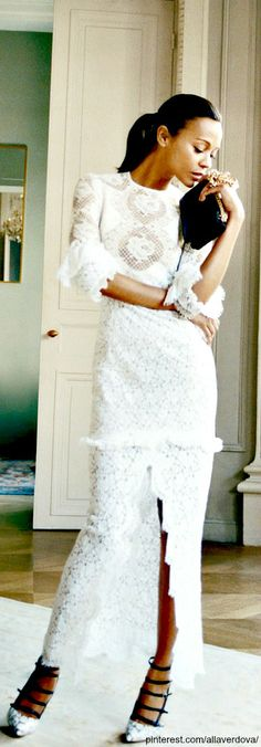 Street fashion for Fall...Long white lace maxi dress,  Zoe Saldana