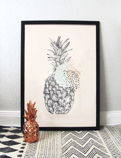 #ananas #illustration #watercolor #summer #pencil #handdrawn #art #rose #details #graphic #fruit #tictail #postcard #dots #larabispinckillustration #larabispinck #pattern #buy #mint